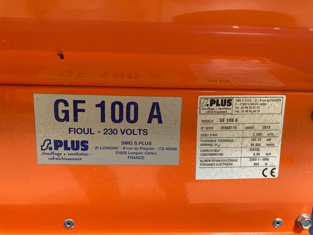 Chauffage d\'atelier Diesel S PLUS type GF 100 A
