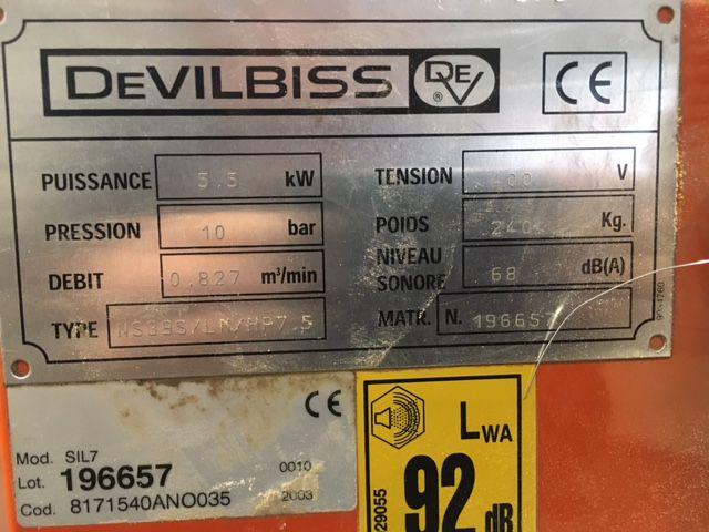 Compresseur à vis DEVILBIS type NS39S/IN/HP7.5