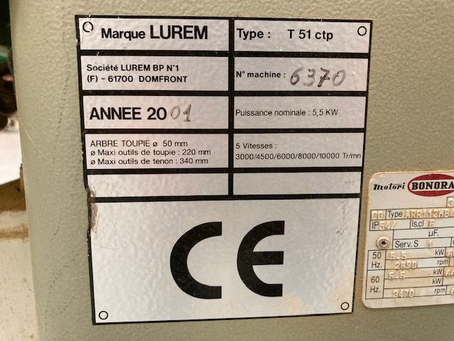 Toupie tennoneuse LUREM type T51 CPT